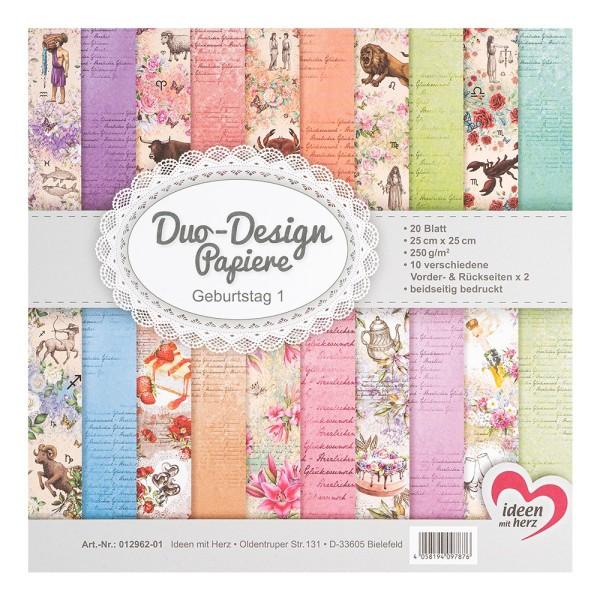 Duo-Design-Papiere, Gebutstag 1, beidseitig bedruckt, 25cm x 25cm, 250g/m², 20 Blatt