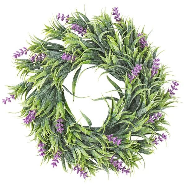 Deko-Kranz, Design 12, innen: Ø 9,5cm, außen: Ø 25cm, mit violetten Blüten