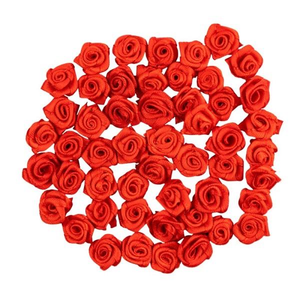 Satinrosen, Ø 1,5cm, seidenglänzend, rot, 50 Stück