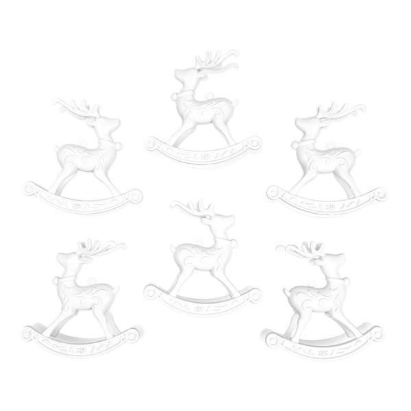 Deko-Schaukelhirsche, Rohlinge, 11cm x 11cm, 6 Stück