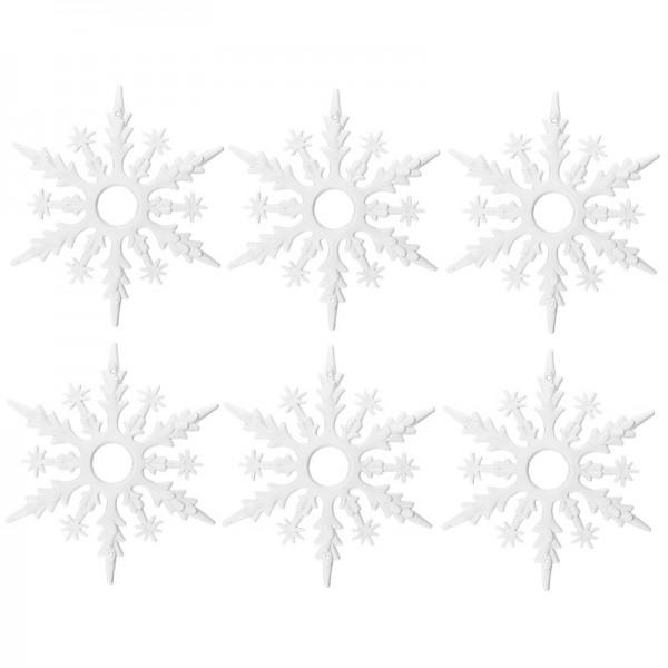 Winter-Deko, Rohling, Eiskristall 3, Ø 14,7cm, weiß, 6 Stück