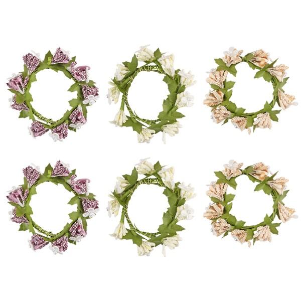 Deko-Kränze, Beeren & Blüten, Ø7,5cm, versch. Farben, 6 Stück