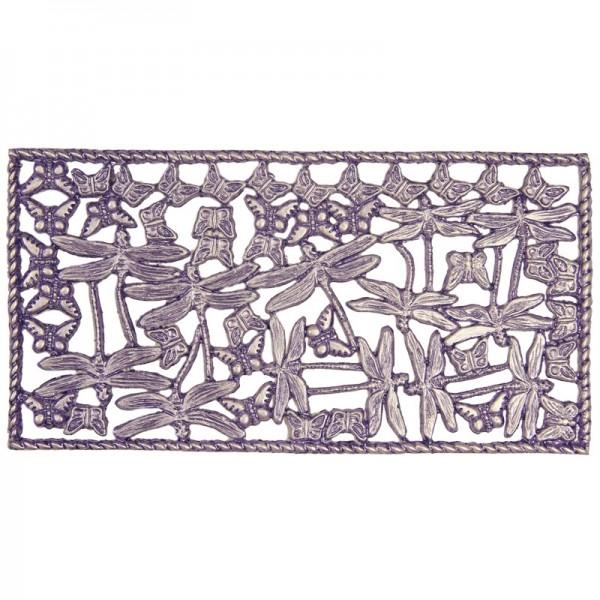Wachsornament-Platte, Libellen, 16 x 8 cm, flieder-perlmutt