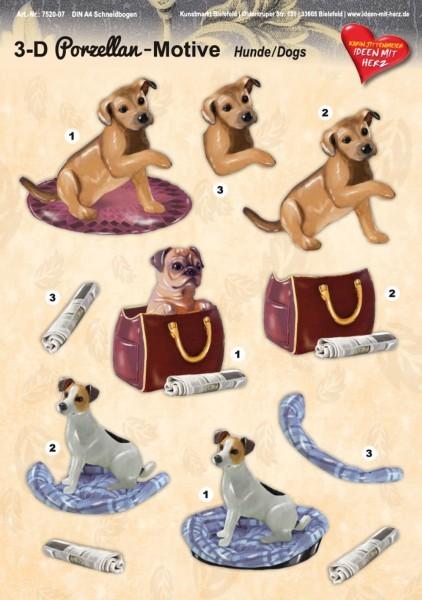 3-D Porzellan-Motive, Hunde, DIN A4 Bogen