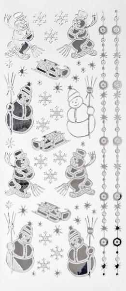 Sticker, Schneemänner & Schlitten, Spiegelfolie, silber