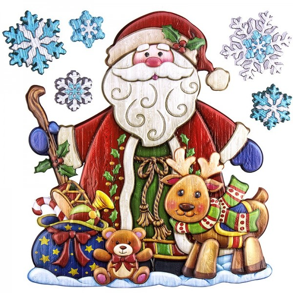 Relief-Sticker in Holzoptik, Weihnachtsmann mit Rentier, 18cm x 17,5cm
