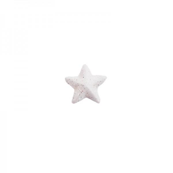 Deko-Sterne, Ø 2cm, weiß mit Glitzer, 50 Stück