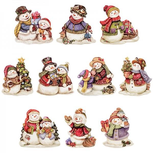3-D Motive, Schneemänner mit Geschenk, Gold-Gravur, 6-8cm, 10 Stück