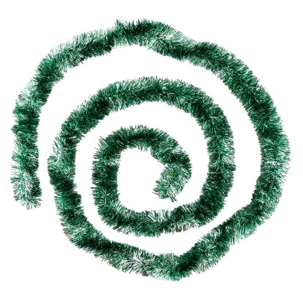 Lametta-Girlande, Deluxe, Duo Color, Ø 4cm, 2m lang, metallic-grün/metallic-silber