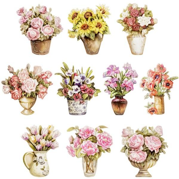 3-D Motive, Blumen mit Vase, Gold-Gravur, 6-8,5cm, 10er Set