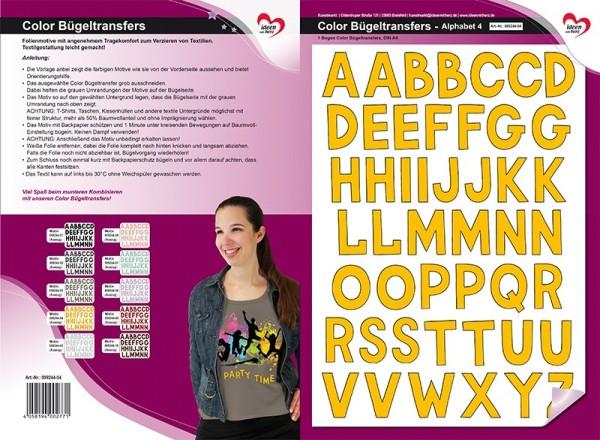 Color Bügeltransfers, DIN A4, Alphabet 4, goldgelb