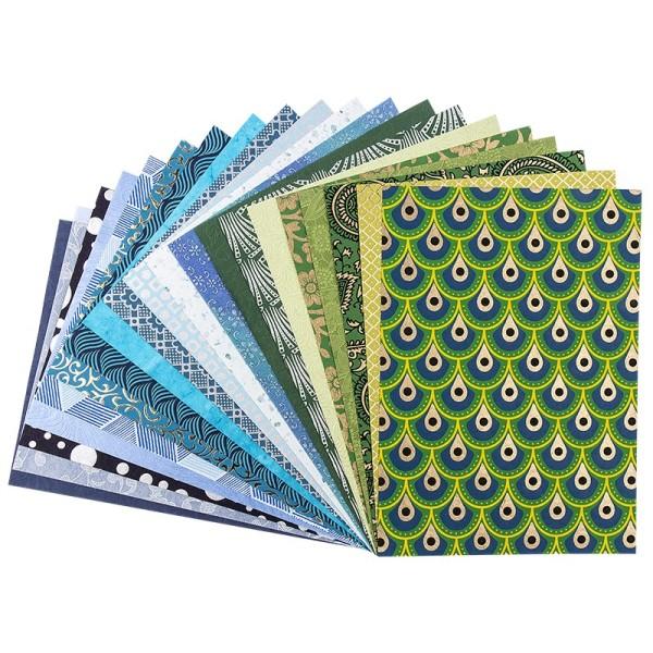 "Naturpapier Colours of India ""Kerala"", DIN A4, blau/grün, 20 Blatt"