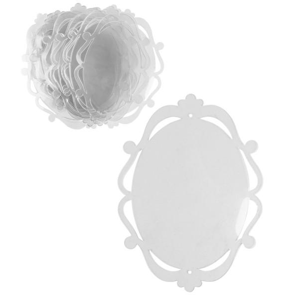Windradfolien-Scheiben, mit Stanzornamentik, Oval 1, 13,8cm x 19cm, 500µ, transparent, 20 Stück