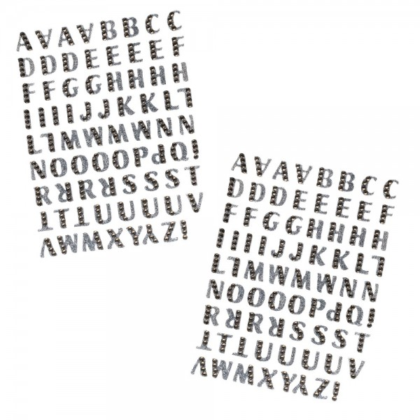 Glitzer-Sticker, Alphabet 1, 11cm x 15cm, anthrazit, mit Schmucksteinen, 2 Bogen