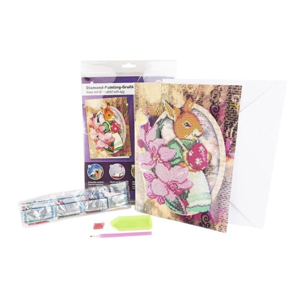 Diamond-Painting-Grußkarte, Hase mit Ei, DIN A4, 370g/m², inkl. Umschlag & Werkzeug