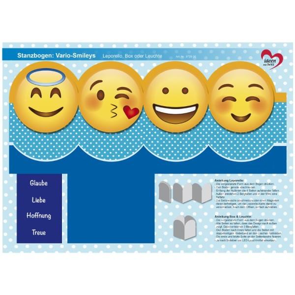 Stanzbogen, Vario-Smileys, DIN A4, Design 6