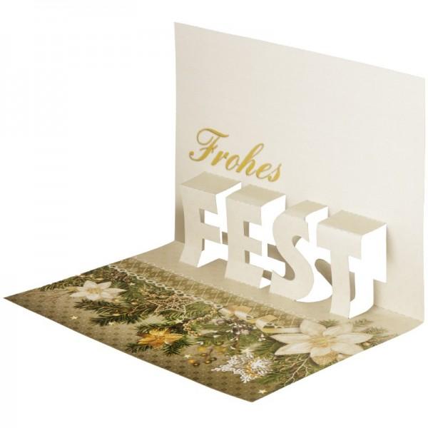 """Pop-Up-Grußkarten-Einleger, 11 x 16 cm, """"Frohes Fest"""", Tannengirlande"""