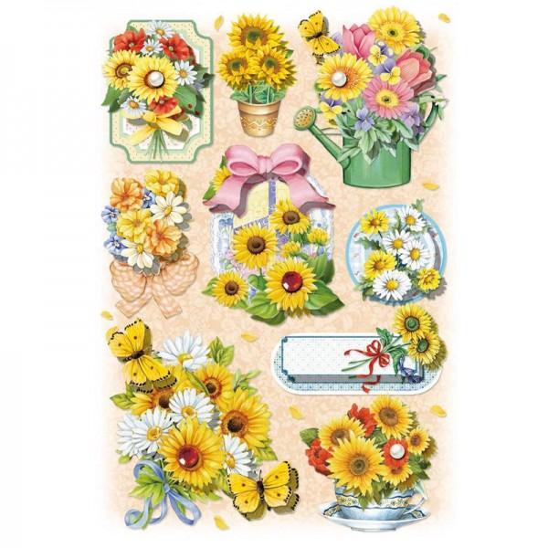 3-D Stickerbogen, Blumen/gelb, 12,7 x 18,8 cm