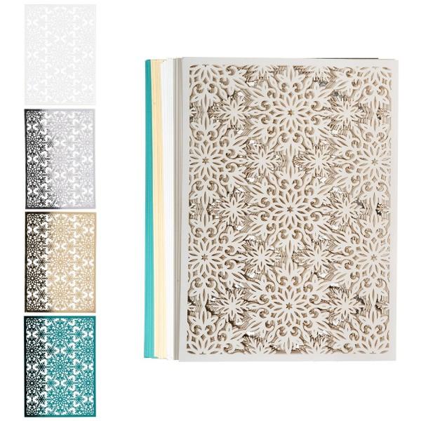 Laser-Kartenaufleger, Zierdeckchen Eiskristalle 1, 14,8cm x 10,5cm, 4 Farbtöne, 20 Stück