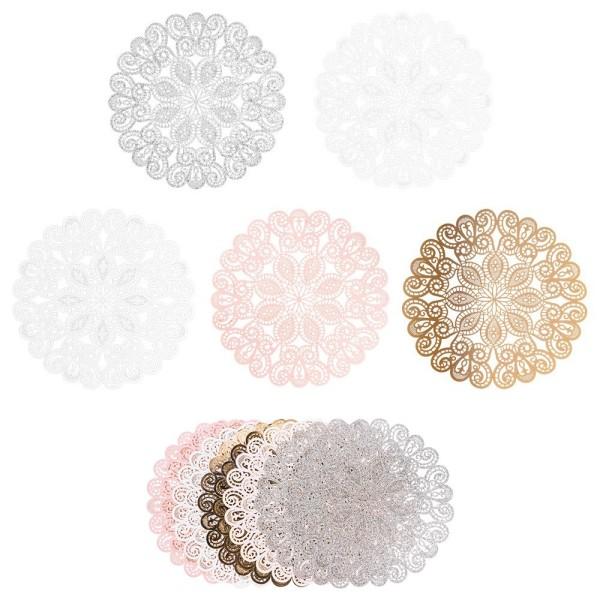 XL-Laser-Ornamente, Zierdeckchen 14, verschiedene Farben, Ø 20cm, 10 Stück