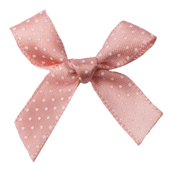 Schleifen, gepunktet, Bandbreite 10mm, 50 Stück, rosa mit weißen Punkten