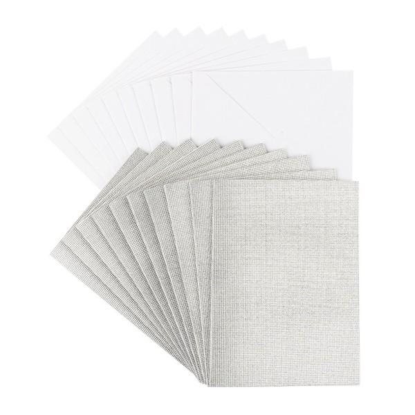 Grußkarten Glitzer-Leinen, C6, silber, inkl. Umschläge, 10 Stück