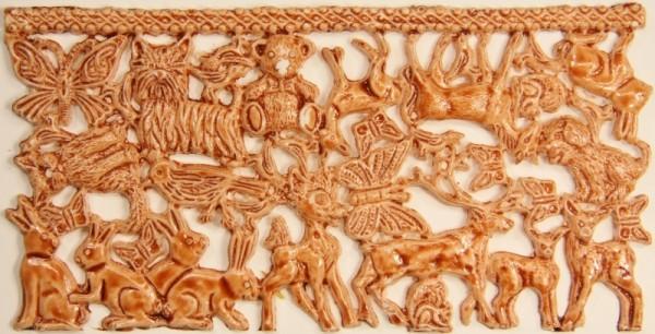 Wachsornament-Platte Tiere, ca. 16 x 8 cm, braun