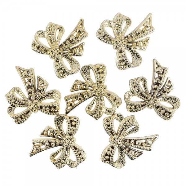 Metallic-Schmucksteine, Schleife, 4,5cm x 4,5cm, hellgold, 7 Stück