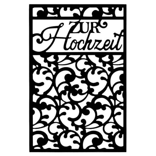 Stanzschablone, Zur Hochzeit, 9,5cm x 14,5cm, passend für gängige Stanzmaschinen
