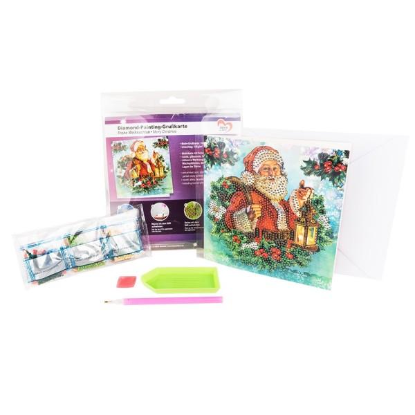 Diamond-Painting-Grußkarte, Frohe Weihnachten, 16cm x 16cm, 370g/m², inkl. Umschlag & Werkzeug