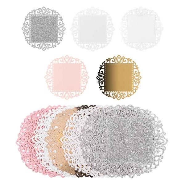 Laser-Kartenaufleger, Zierdeckchen, Ornament 18, Ø 14cm, 220 g/m², 5 Farbtöne, 20 Stück