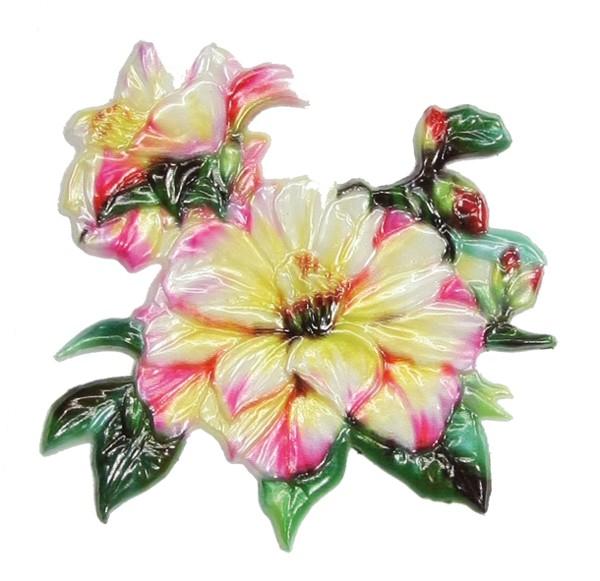 Wachsornament Strauchrose, farbig, geprägt, 8 x 8 cm