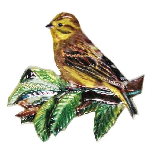 Wachsornament, Goldfink, farbig, geprägt, 7,5x7,5cm