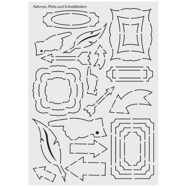 """Design-Schablone Nr. 12 """"Rahmen, Pfeile, Schreibfedern"""", DIN A4"""