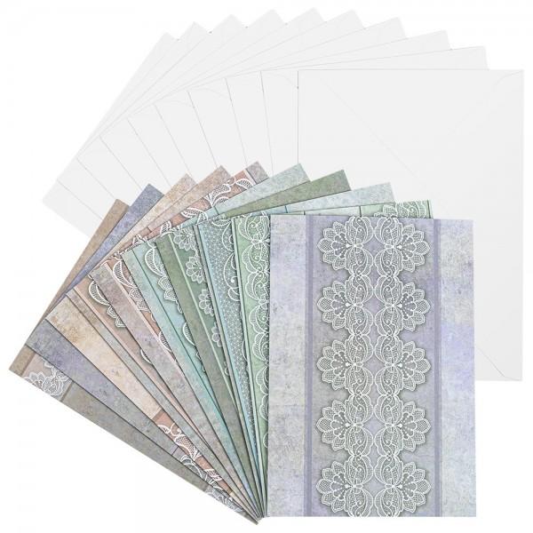Motiv-Grußkarten, Spitze, B6, 230 g/m², verschiedene Designs, inkl. Umschläge, 10 Stück