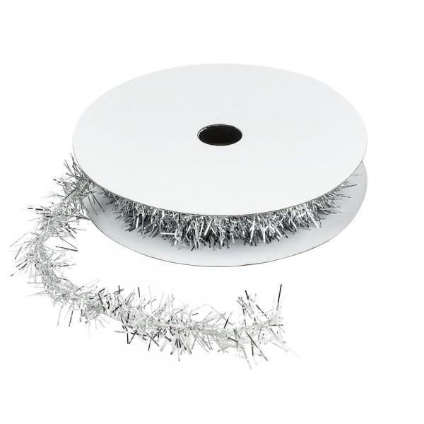 Lametta-Band, Ø 1cm, 2m lang, metallic-silber