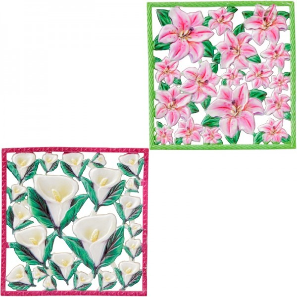 Wachsornament-Platten, farbig, Lilie & Calla, 10x10cm, 2 Stück