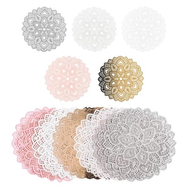 Laser-Kartenaufleger, Zierdeckchen, Ornament 15, Ø 14cm, 220 g/m², 5 Farbtöne, 20 Stück