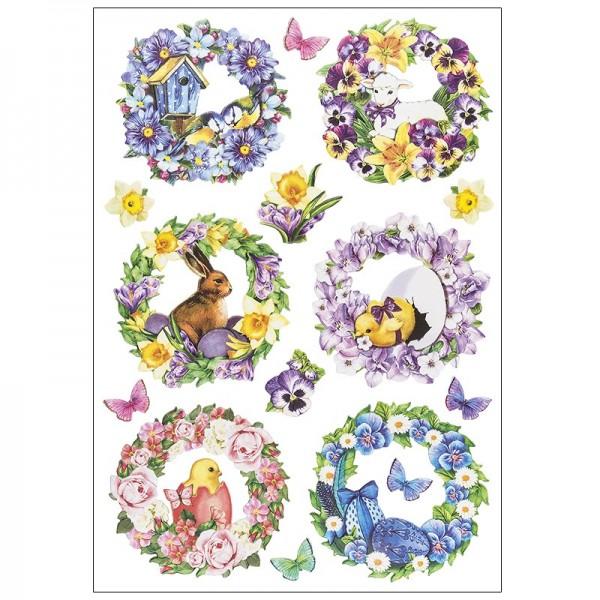 3-D Relief-Sticker, Osterkränze, verschiedene Größen, selbstklebend