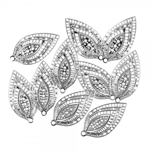 Metall-Ornamente, Blatt 4, 6,5cm x 3,5cm, silber, 10 Stück