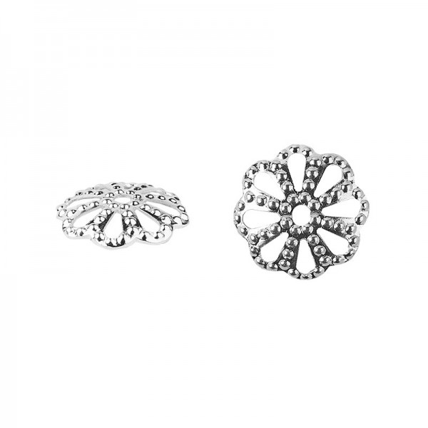 Perlenkappen, Design 3, für Perlen mit Ø6mm, silber, 30 Stück