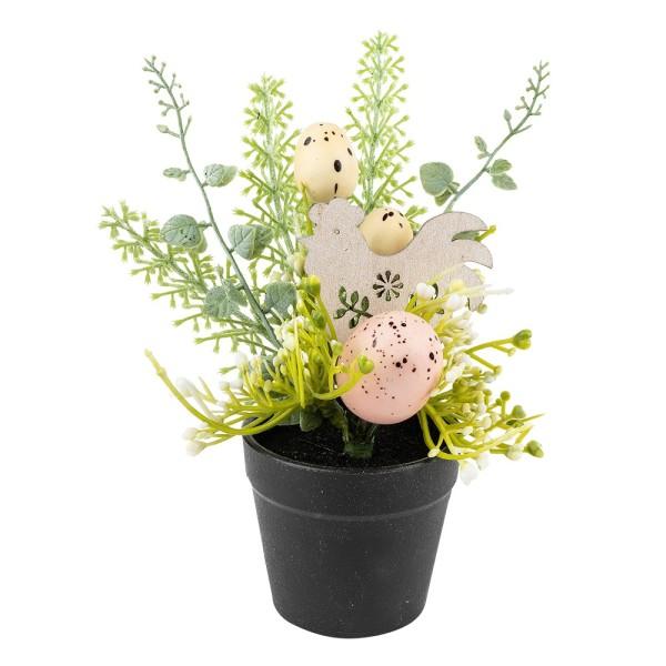 Deko-Blumentopf Osterzeit, 20cm x 7cm, mit farbigen Eiern, weißen Blüten und Hahn aus Holz
