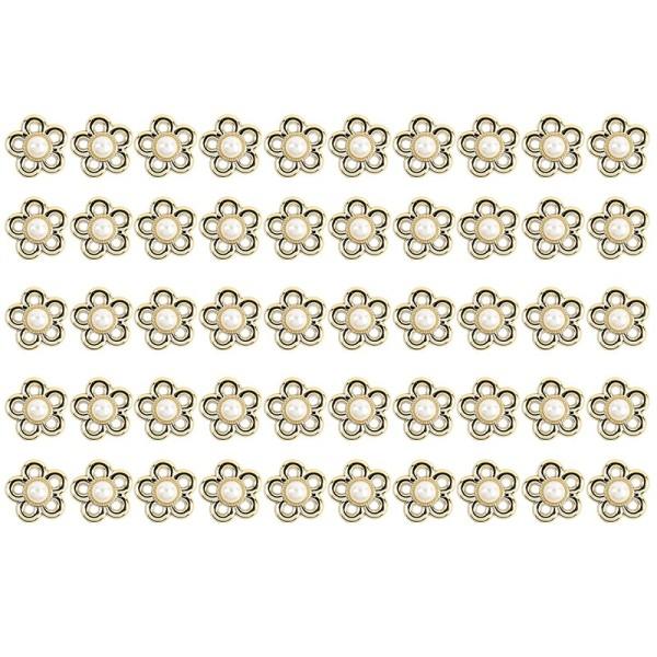 Premium-Schmucksteine, Zierblüte 3, Ø 2,1cm, hellgold, perlmutt, 50 Stück