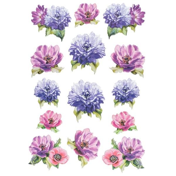 3-D Relief-Sticker, Blumen 4, 21cm x 30cm, verschiedene Größen, selbstklebend