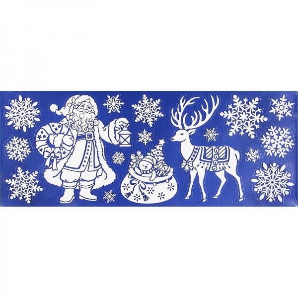 Glimmer-Relief-Sticker XXL, Weihnachtsmann 2, 20cm x 50cm