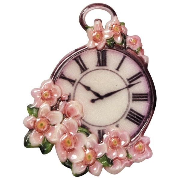 Wachsornament Uhr 5, farbig, geprägt, 7-8cm
