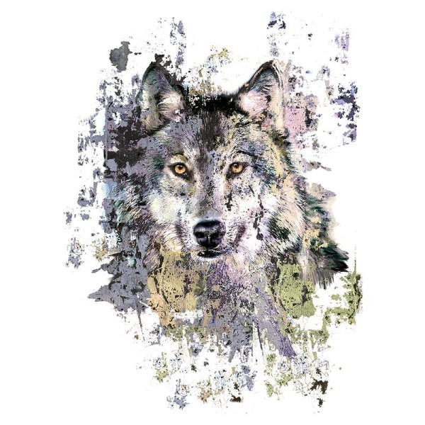 Color Bügeltransfers, 23,5cm x 34cm, filigran ohne Hintergund, Wolf