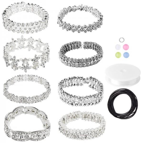 Glamour Elements inkl. Spaltringe, Perlen, Nylonband & Lederbänder