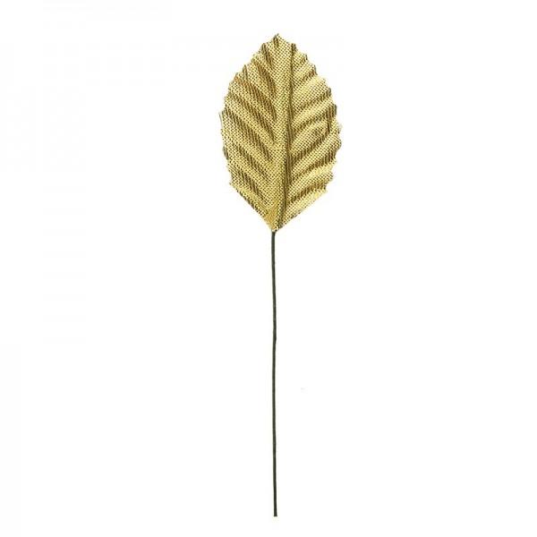 Deko-Blätter am Draht, 4,5cm x 2,8cm, gold, 20 Stück