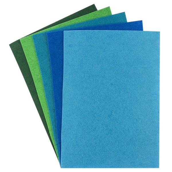 Filz, 2mm stark, DIN A4, Grün-/Blautöne, 5 Bogen